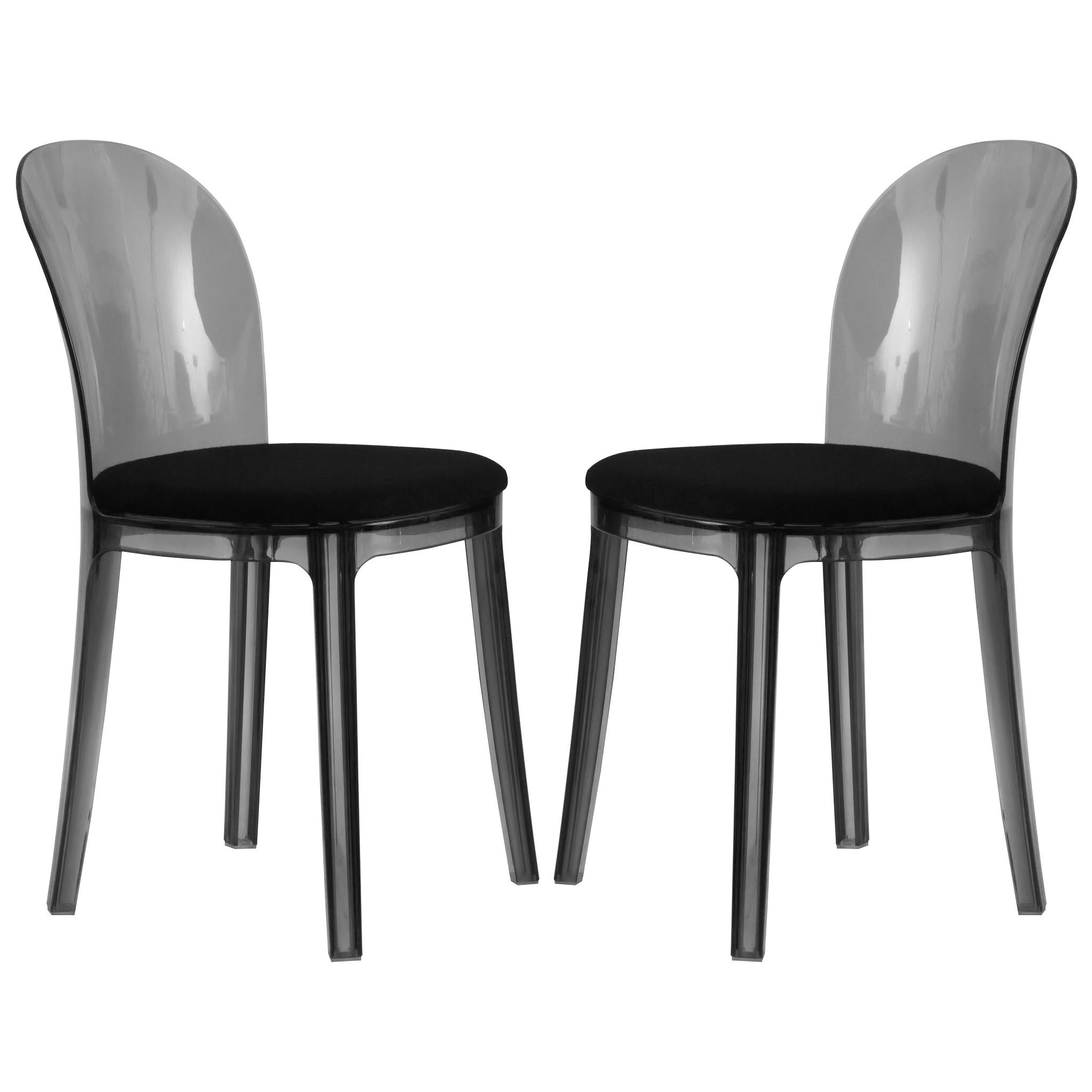 The Twilight Black Dining Chair Is Manufactured From Strong And Very Sy Smoked Polycarbonate Acrylic With A Comfortable Seat Pad