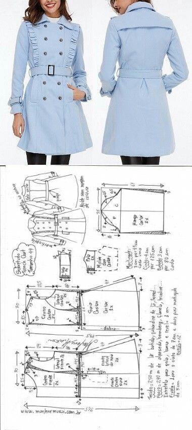 Casaco sobretudo trench coat | Nähmuster, Schnittmuster und Nähen