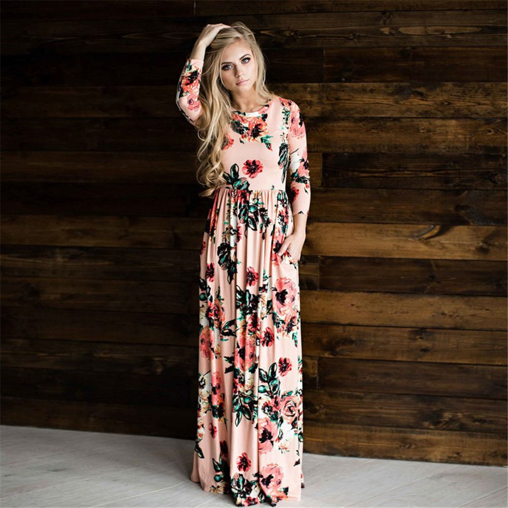 Long dress floral summer maxi dress xl plus size vestido longo boho