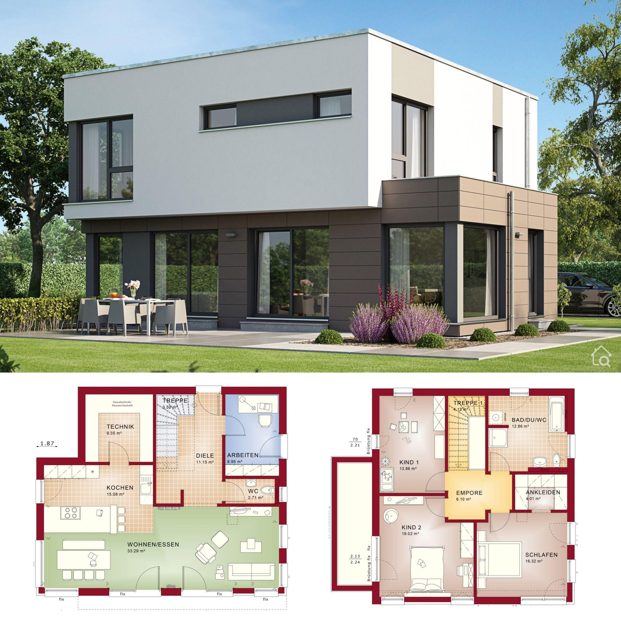 Einfamilienhaus modern mit Flachdach Architektur im