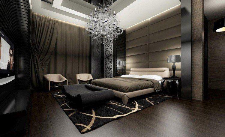 idee chambre adulte moderne avec suspension grand lit tapis et fauteuils