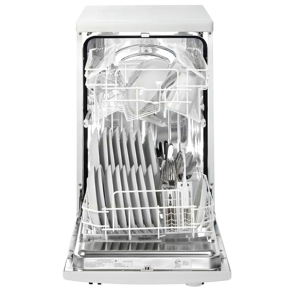 Danby 18 In Portable Dishwasher In White With 8 Place Setting Capacity Ddw1899wp 1 The Home Depot Portable Dishwasher Soft Water System Danby