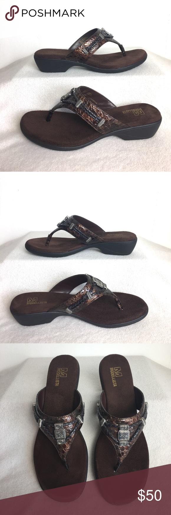 3996a25a0444 Modellista 10 Kelso Flip Flop Heels Sandals Shoes Modellista Size 10 Kelso  Open Flip Flop Thong Heels Sandals Cushioned Shoes NEW without box  modellista ...