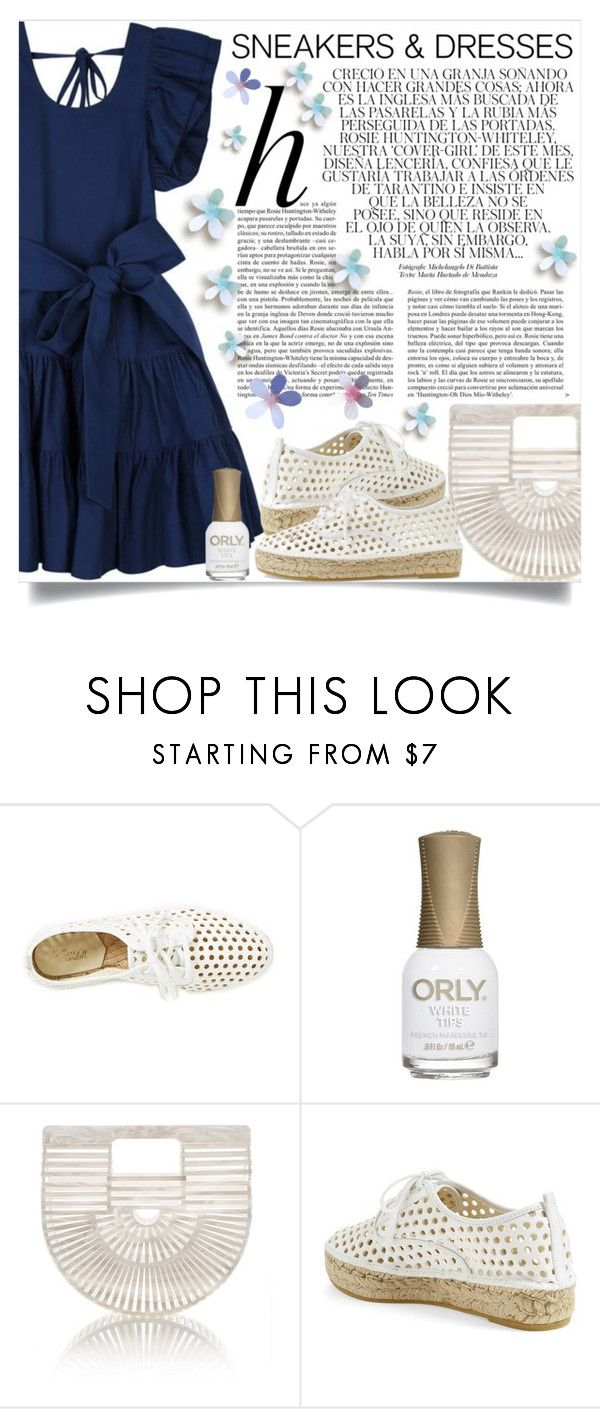 """""""Sporty Chic: Loeffler Randall Sneakers and Jill Stuart Dress"""" by lucky-ruby ❤ liked on Polyvore featuring Loeffler Randall, ORLY, Cult Gaia, Whiteley, blueandwhite and SNEAKERSANDDRESSES"""