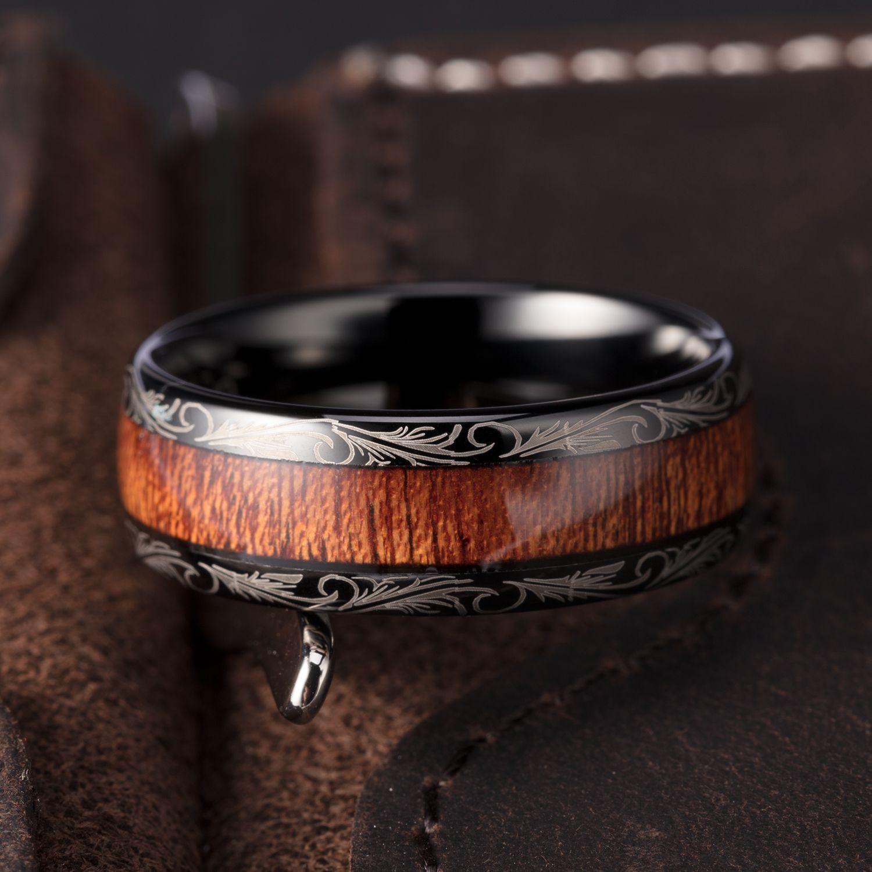 TUSEN JEWELRY 8MM Mens Wedding Band 8mm Black Tungsten