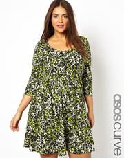 ASOS CURVE Exclusive Skater Dress In Bright Floral