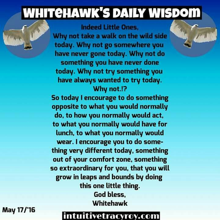 Create an extraordinary day Little Hawks by changing it up!!  #growth #spiritual #comfortzone