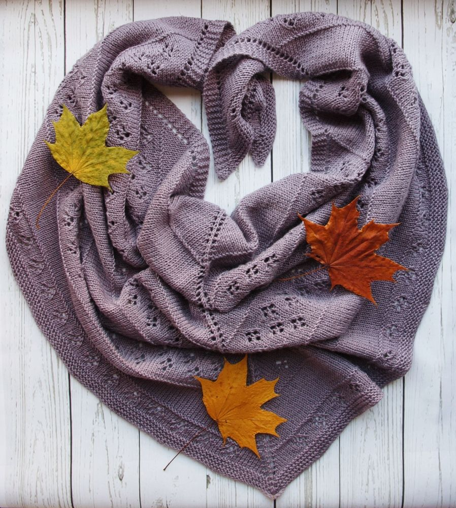 платок вязаный из шерсти