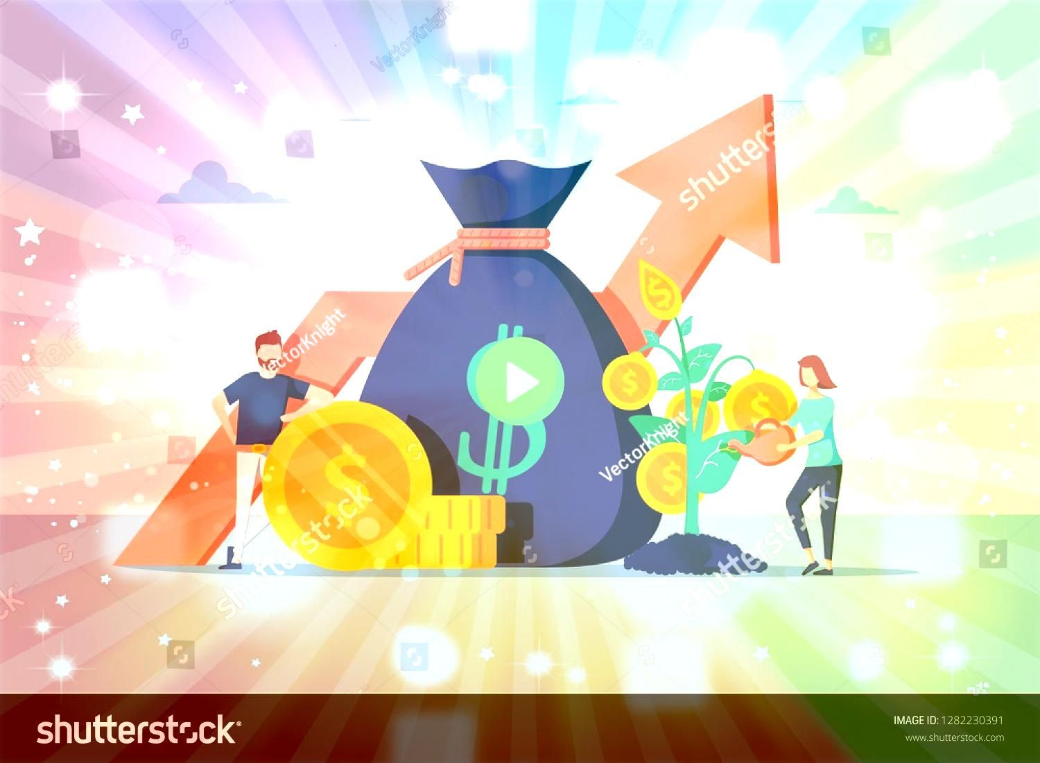Financial Business People Increasing Capital and Profits Wealth and Savings with Characters Earnings Money illustration Research and analyze business Financial growth of...