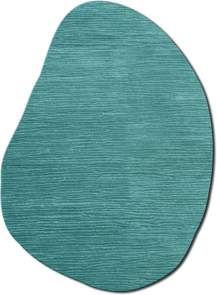 Modernrugs Odd Shaped Blue Wave Dune Textured Modern Rug