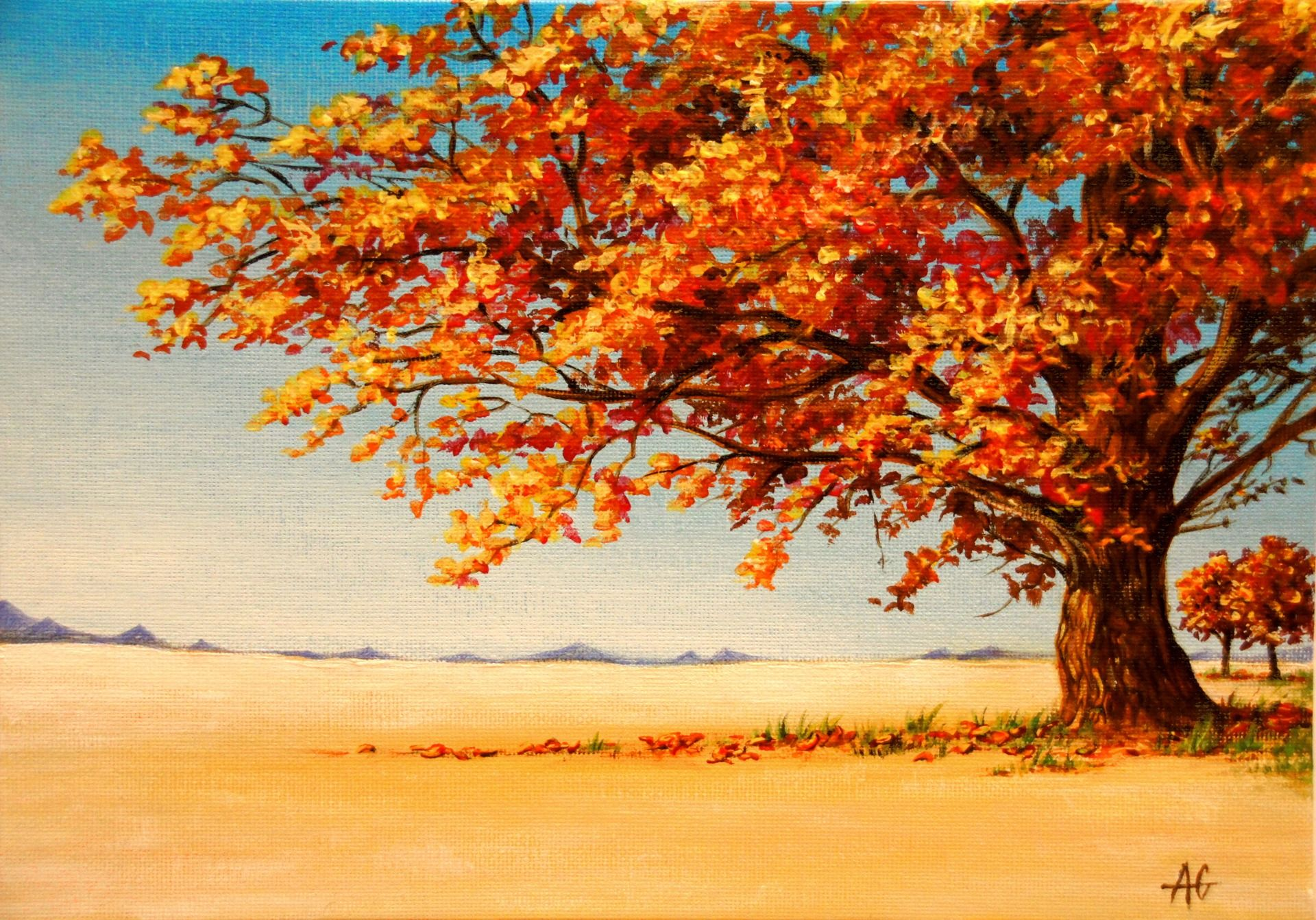 Arbre En Automne Au Coeur D Une Plaine Peintures Par Anagruz