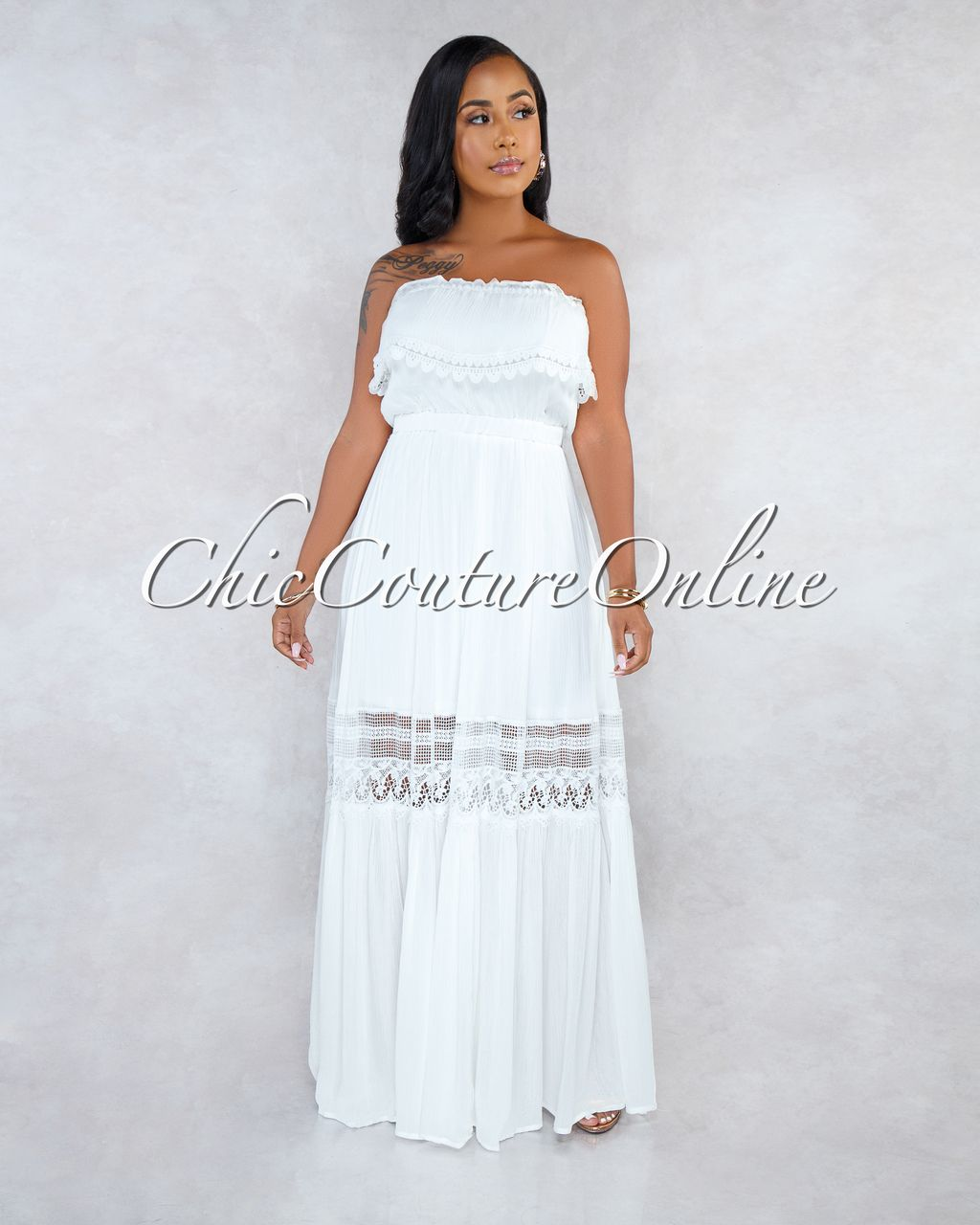5e3c3a32a3d Chic Couture Online - Arden Ivory Off-The-Shoulder Crochet Maxi Dress
