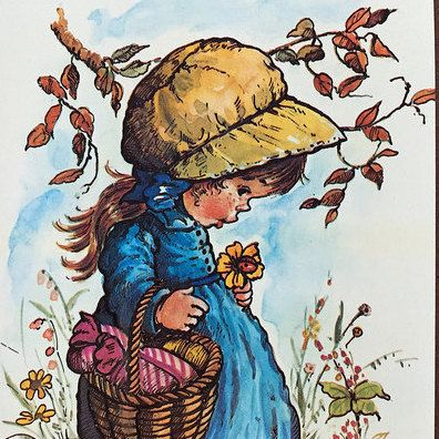 Vintage Cute Girl Postcard 70s door SillyshoppingVintage op Etsy