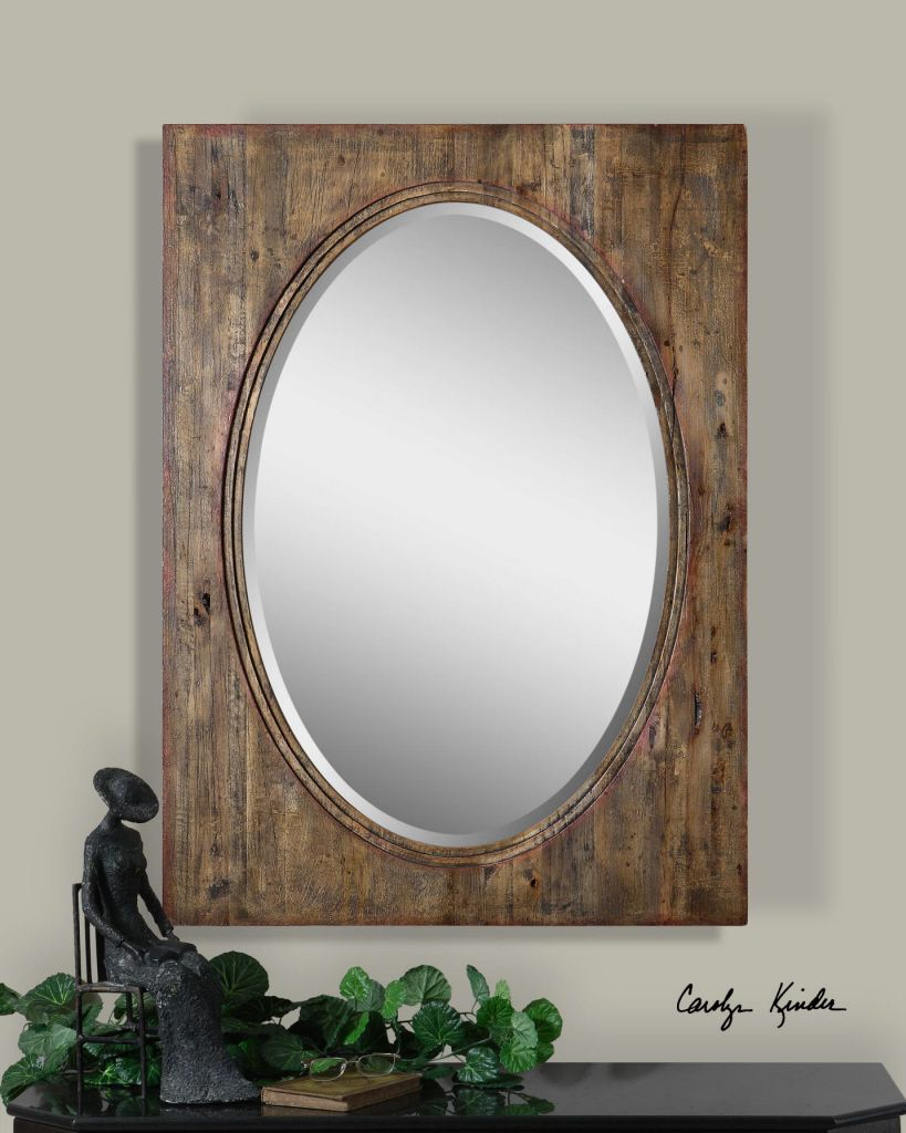 Oval Mirror With Distressed Wood Natural Hickory Frame