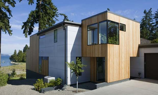 rethinking natural wood siding a house by the park - Modern Home Siding