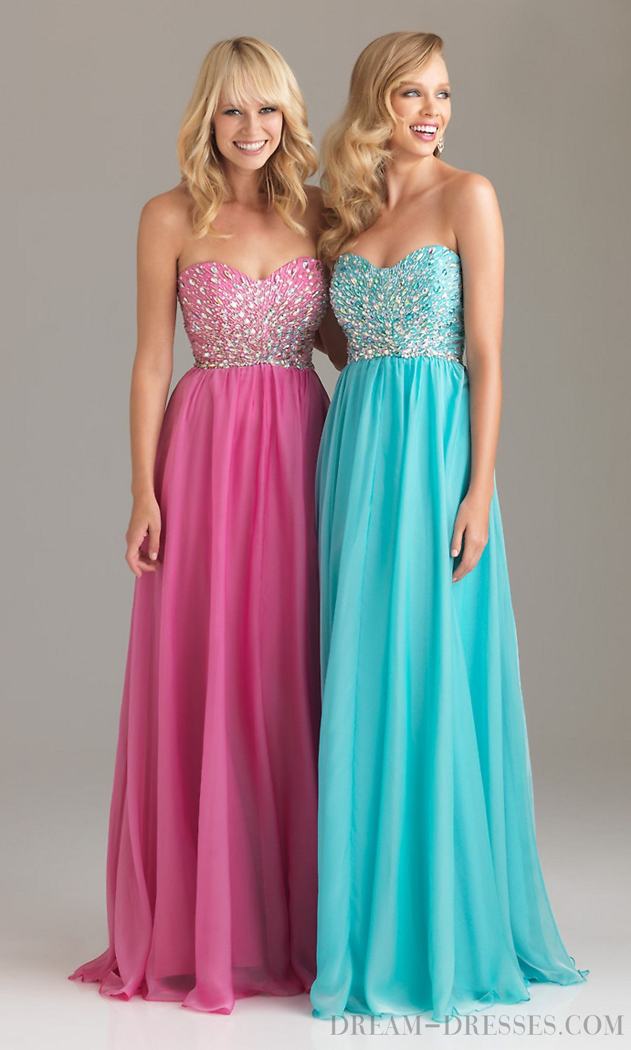 Chic A-line Sweetheart Floor-length Chiffon Prom Dresses with ...