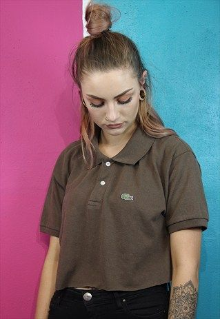 eb8273f92ece9 Vintage Reworked cropped Lacoste polo shirt | ASOS Marketplace ...