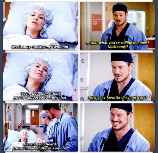Mcsteamy And Mcdreamys Wife Bonding While High On Morphine Greys