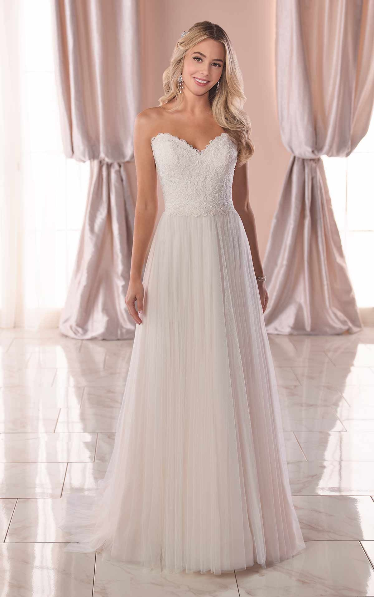 Casual Wedding Dress with Matte Lace Bodice Stella York