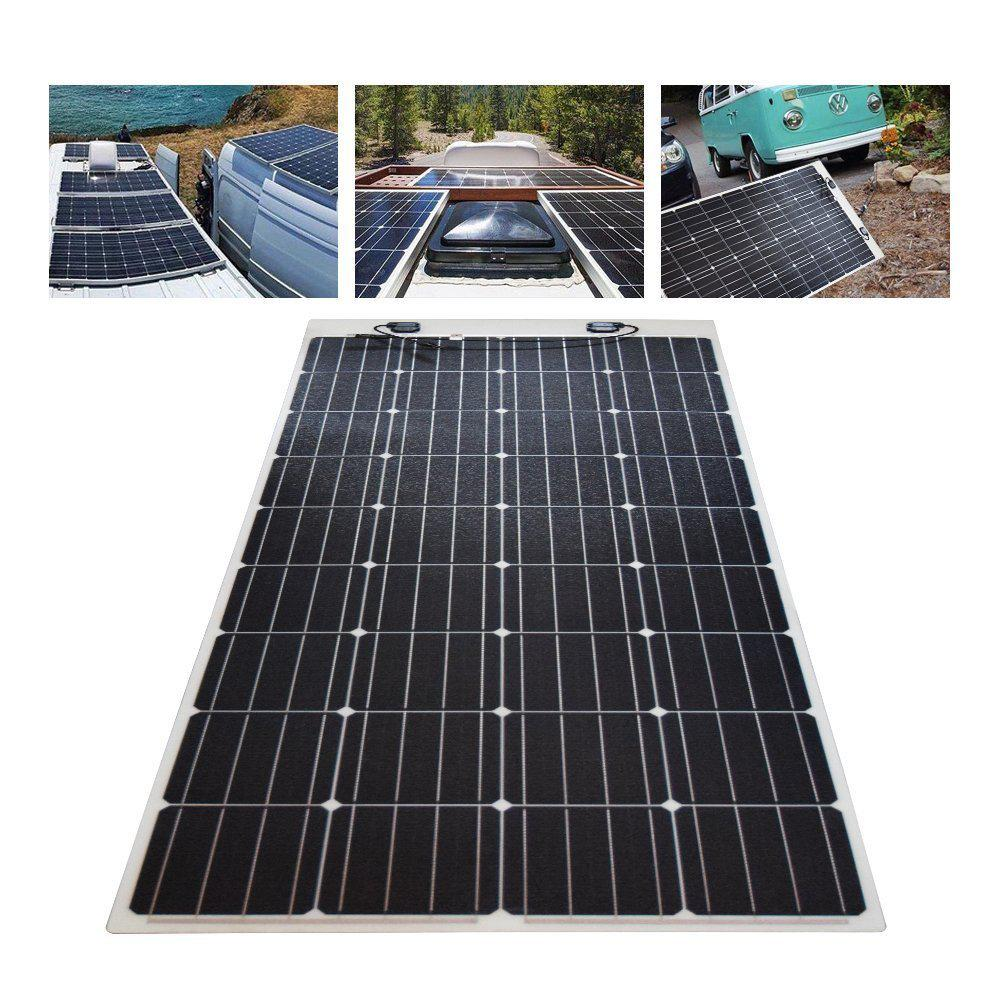 Renogy 160 Watt 12 Volt Extremely Flexible Monocrystalline Solar Panel Ultra Lightweight Rng 160db H In 2020 Solar Panels Monocrystalline Solar Panels Roof Solar Panel