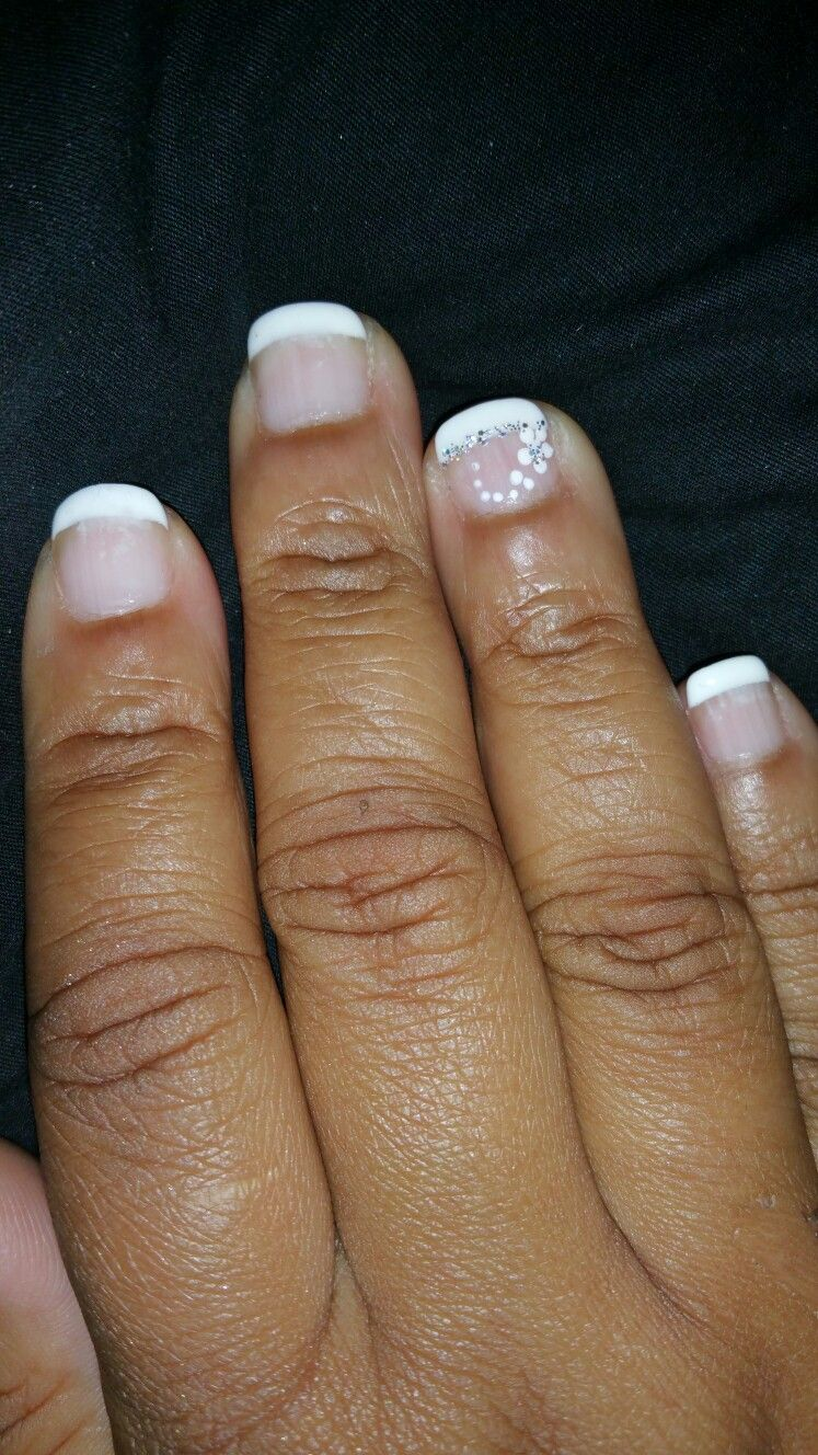 Frenchmanicure With Small Flower And Sparkle Crn Nail Art