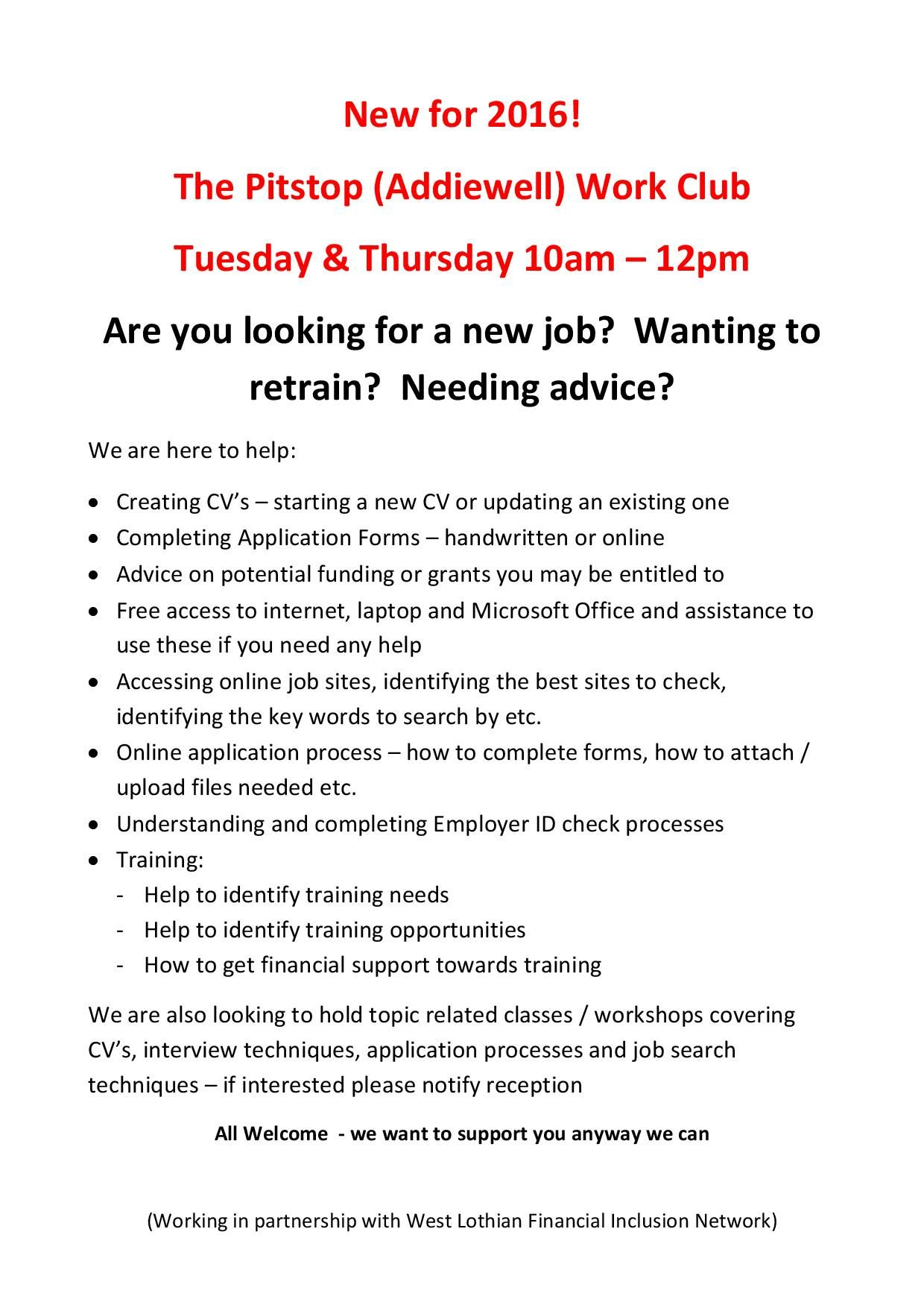 The pitstop addiewell work club tuesday thursday 10am