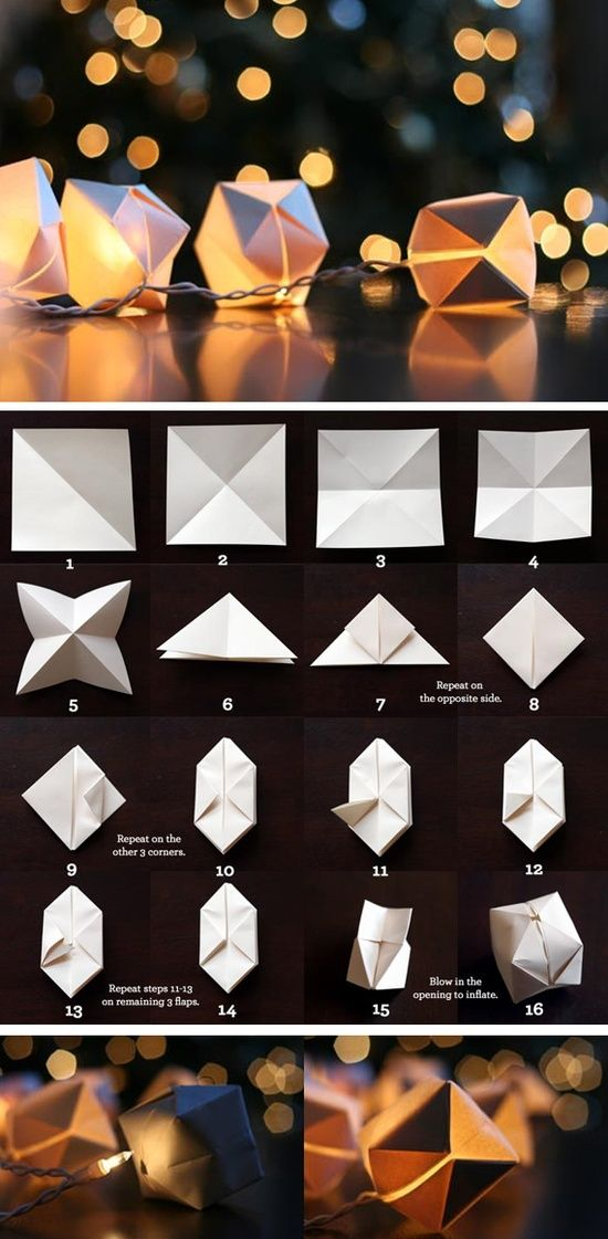 DIY: Paper Cube String Lights Paper lanterns, String lights and Sprays