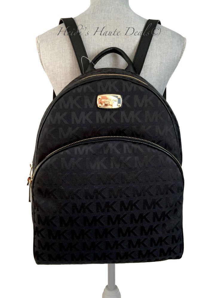 Nwt Michael Kors Abbey Black Signature Canvas Backpack Large Mk Logo Book Bag Michaelkors