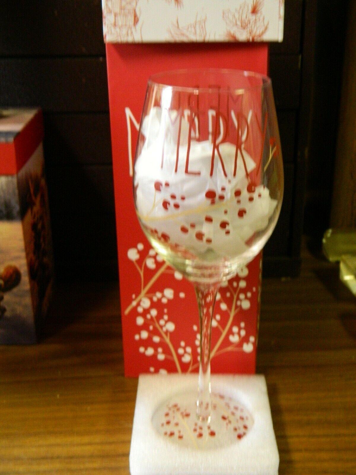 Brand New Nib Merry Christmas Wine Glass In Box 12 Oz Refresh Cypress Wine Glass Ideas Of Wine Glass Wineglass Glass Win Christmas Wine Wine Glass Glass