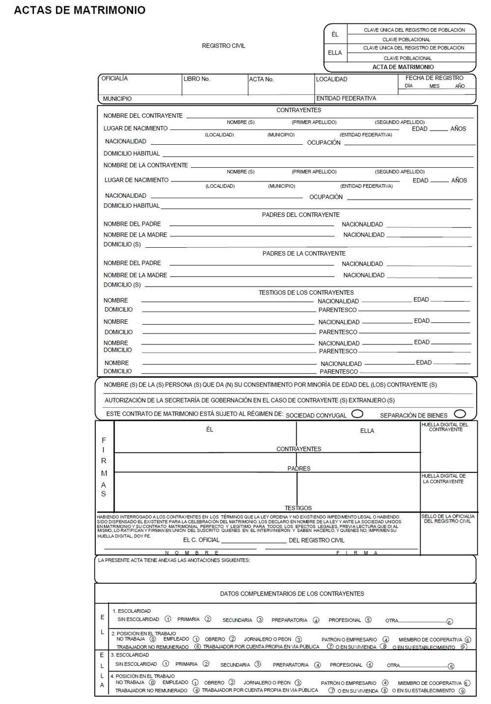 Formato De Acta De Matrimonio Acta De Matrimonio Matrimonio Certificado De Matrimonio
