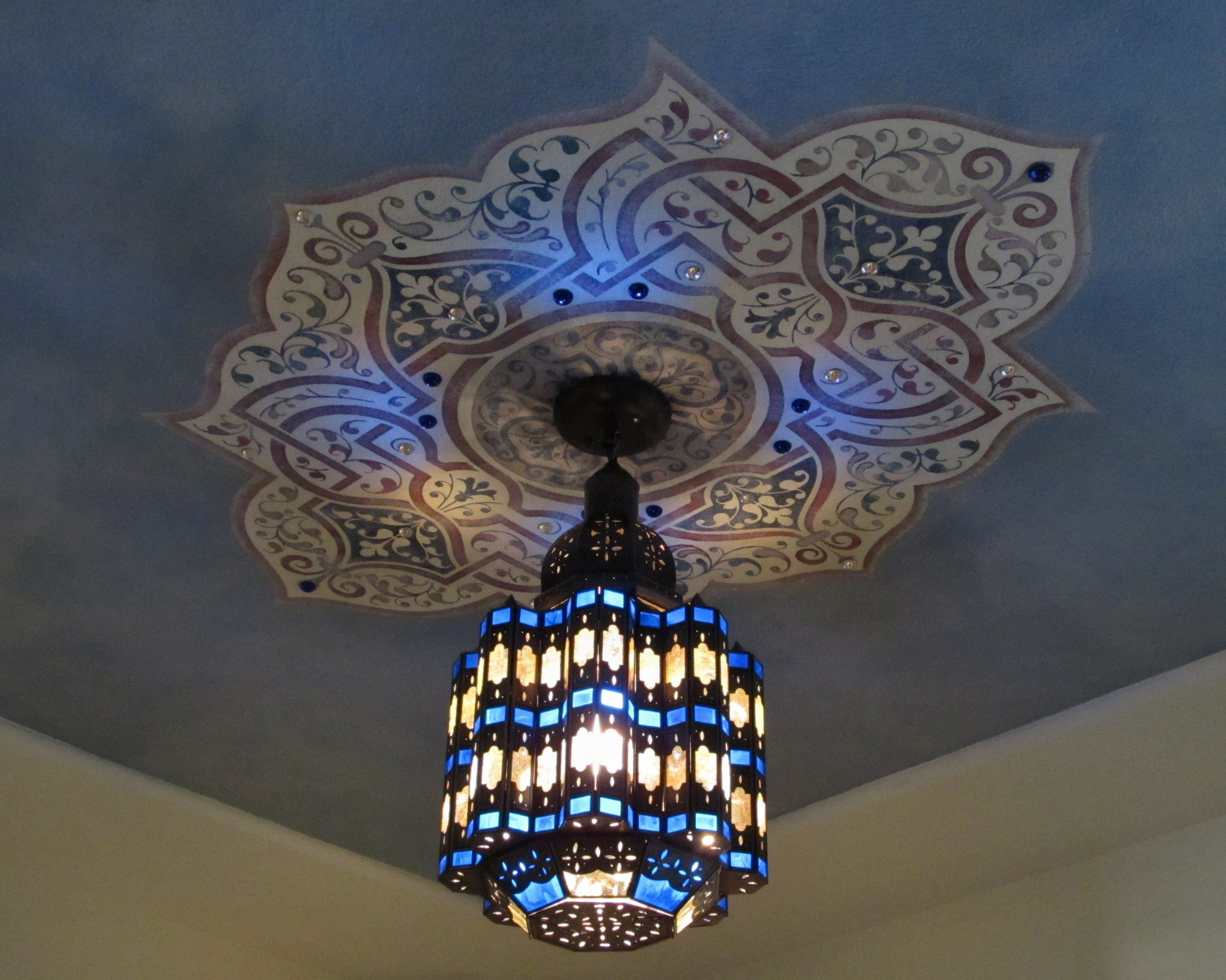 Colorful Blue Moroccan Style Light Fixture And Painted Ceiling