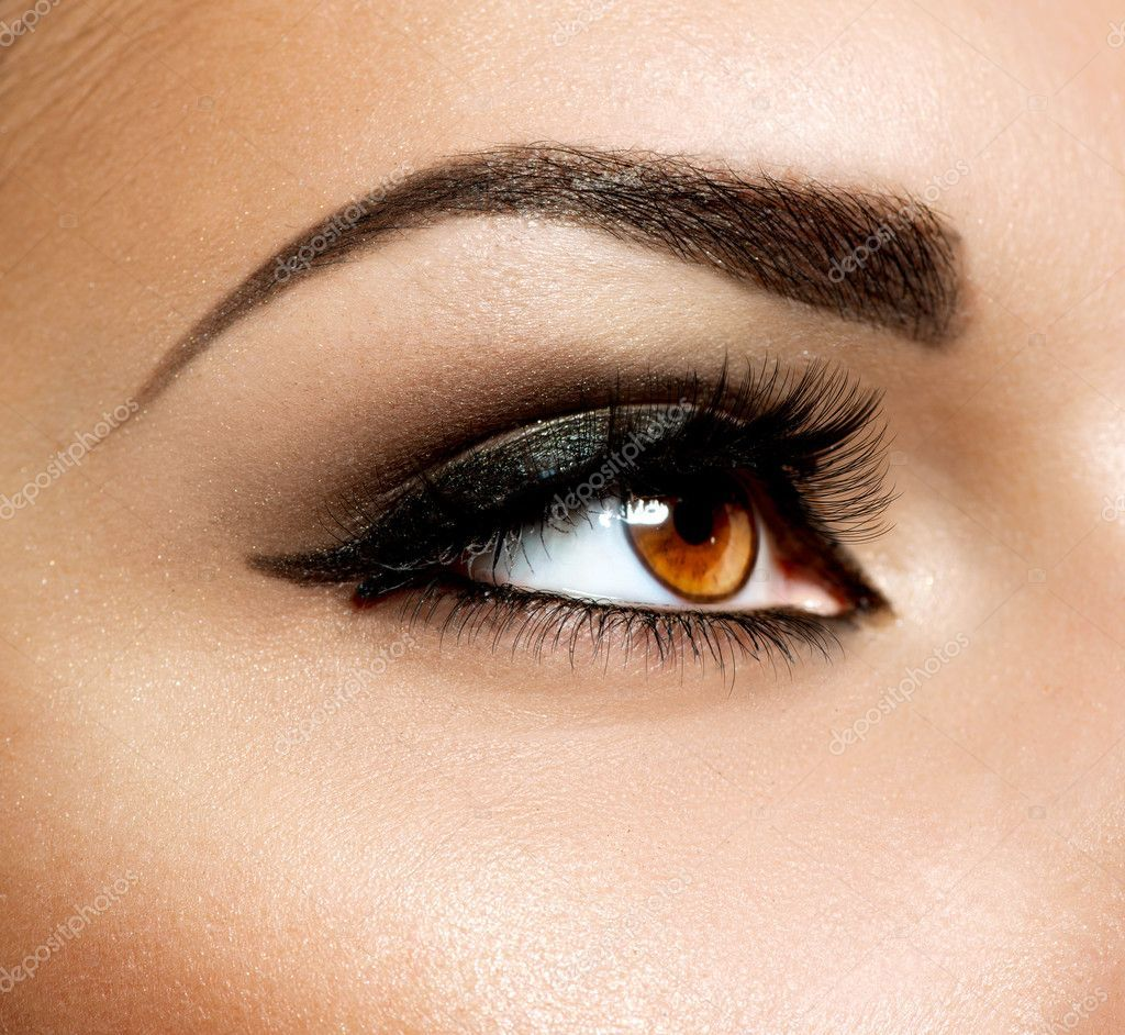 Brown Eye Makeup. Eyes Makeup Stock Photo , Ad,