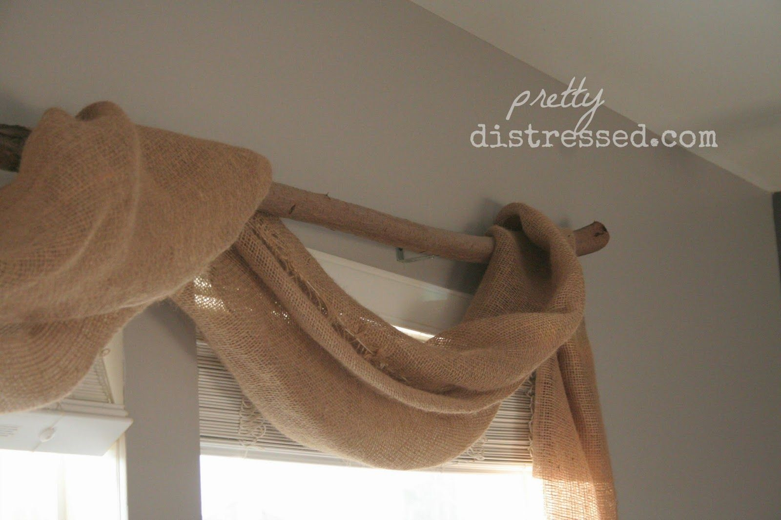 Do It Yourself Window Treatments: DIY Burlap And Branch Window Treatment. Country Chic