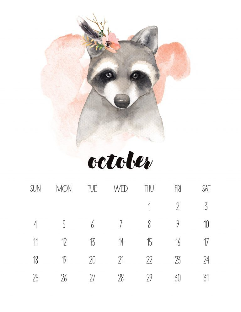 Free Printable 2020 Watercolor Animal Calendar Calendar