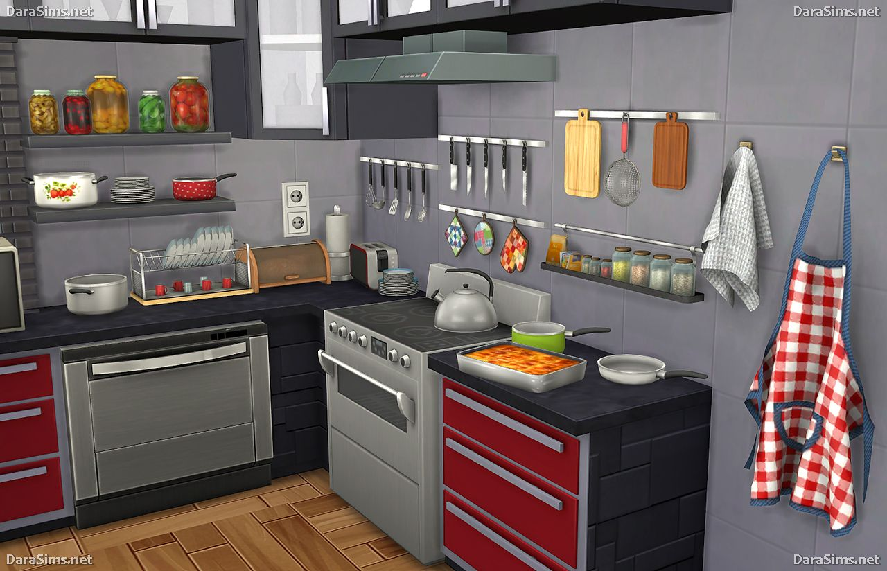 Kitchen decor set for sims 4 simscustomcontent for Decoration retro cuisine