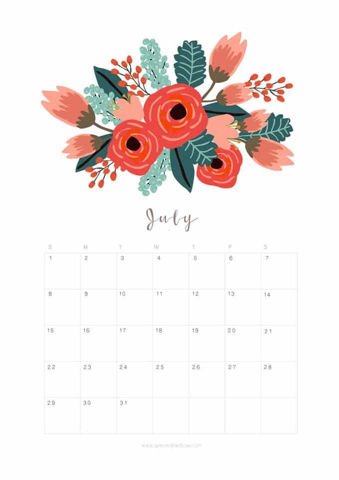Printable July 2018 Calendar Monthly Planner – Flower Design