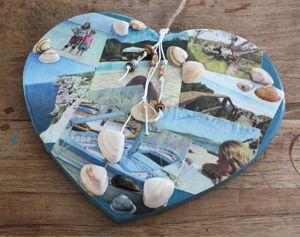 Creatief met papier: een hart, beplakt met foto's. #knutselen #decoupage #memories