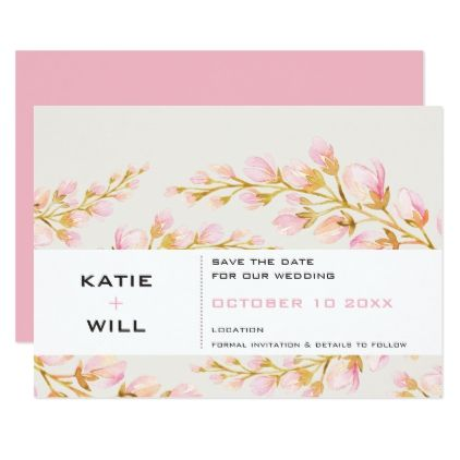 SAVE THE DATE modern minimal spring floral Card floral style