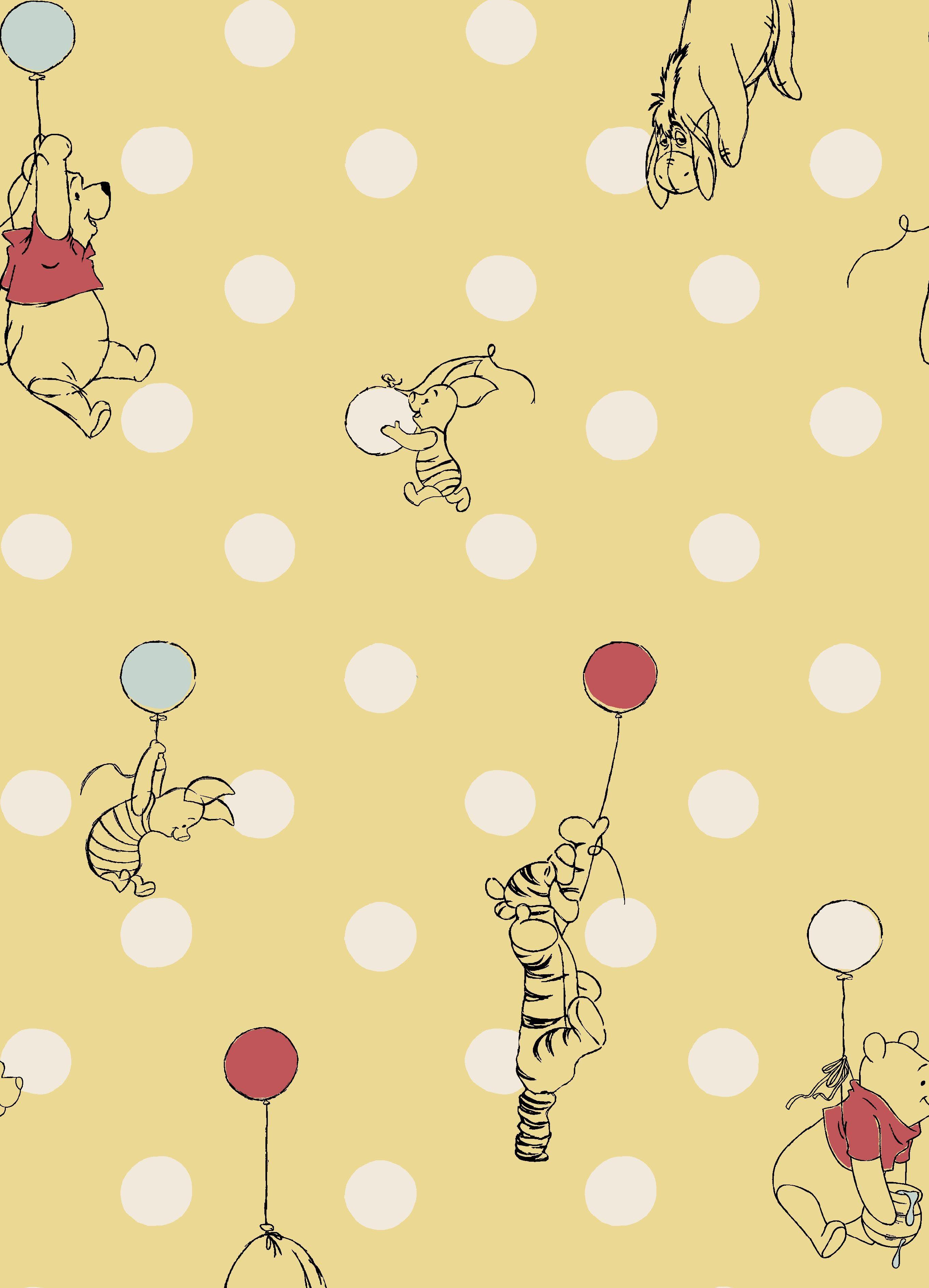 Balloon Spot Winnie The Pooh Background Cath Kidston Wallpaper