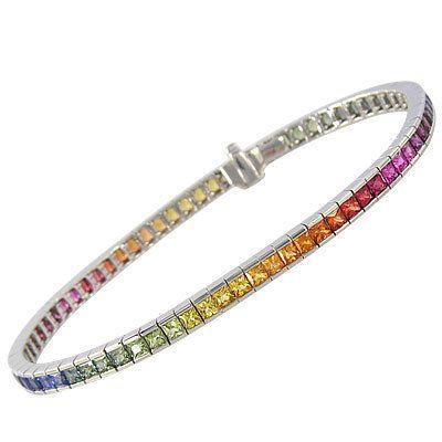 Multicolor Rainbow Sapphire Tennis Bracelet 18k By Rainbowsapphire 2097 00 Sapphire Bracelet Rainbow Sapphires Jewelry