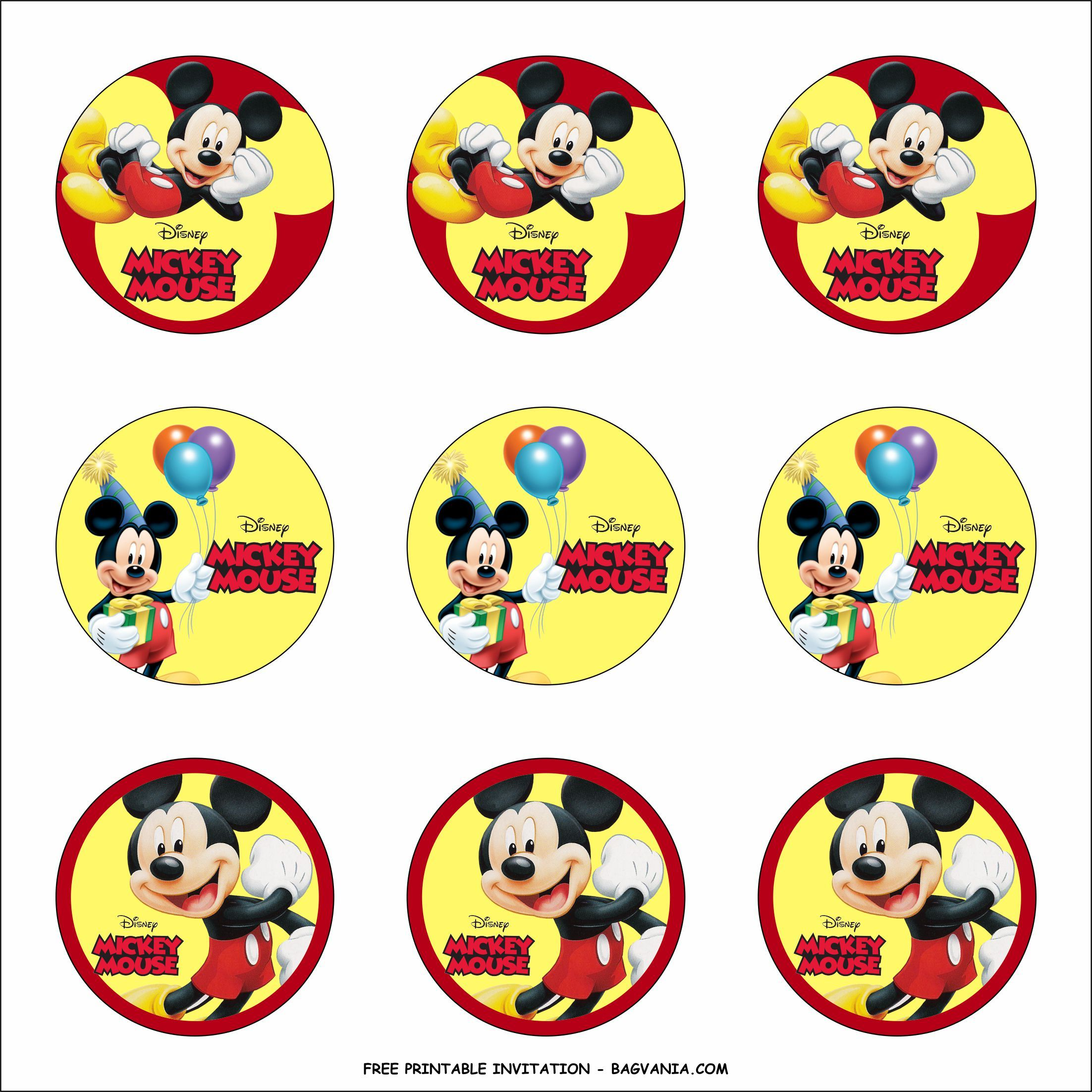Free Printable Mickey Mouse Birthday Party Kits Template ...