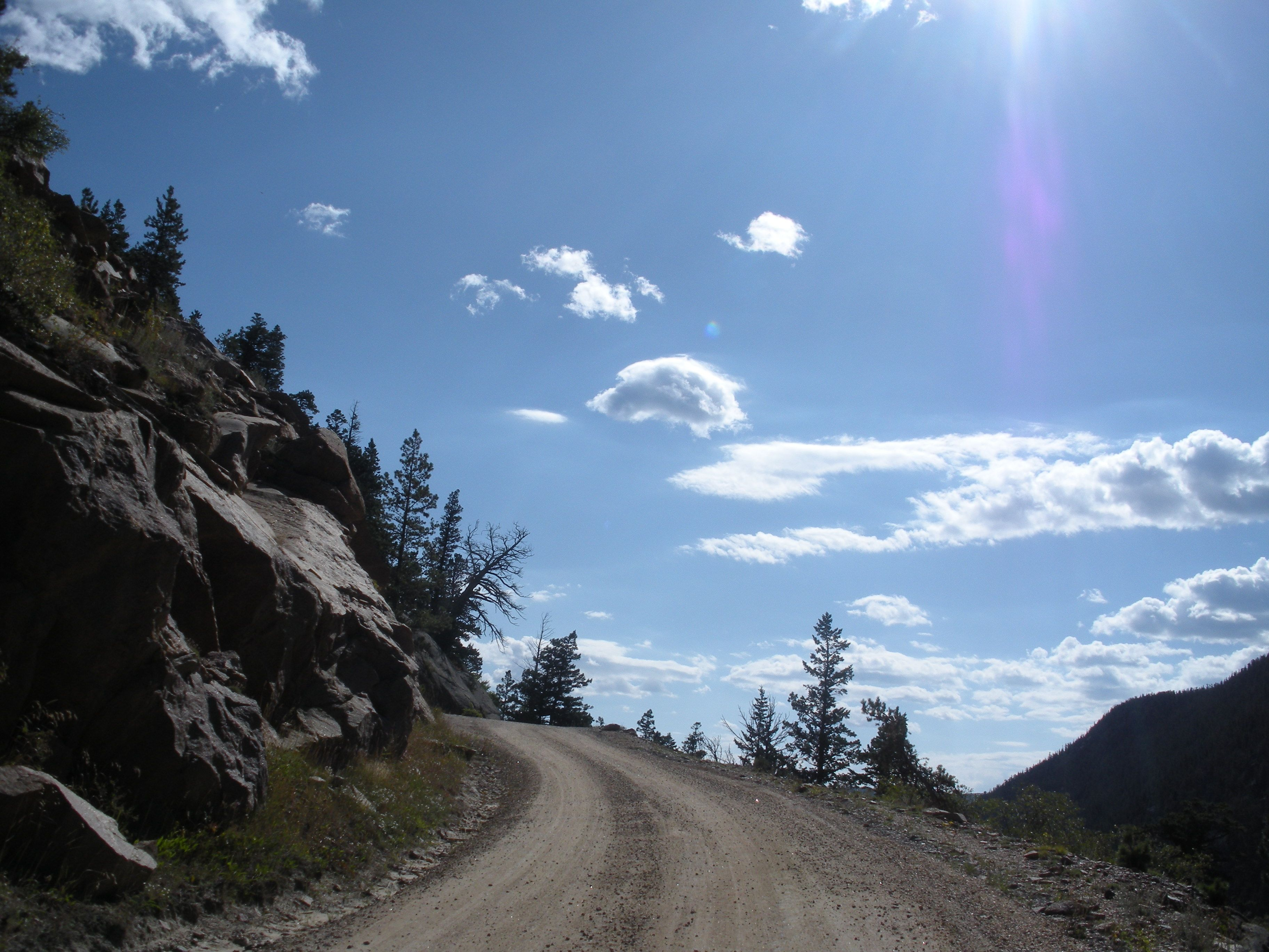 Driving up Old Fall River Road, a winding one-way dirt road