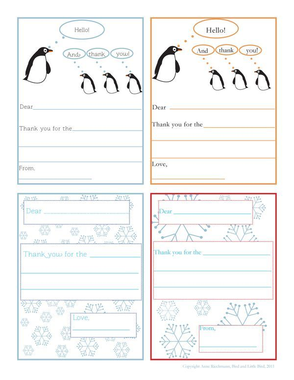 Tis the Season (Printable Thank You Notes for Kids). - Bird and ...