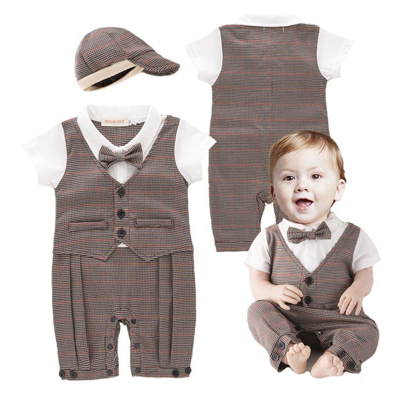 f7f025e0a Mamelucos del bebé Recién Nacido Ropa Del Bebé Muchacho Caballero A Rayas A  Cuadros Chaleco de