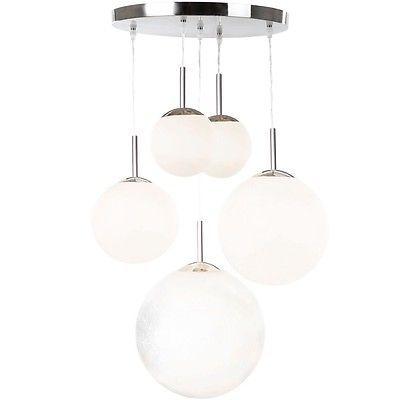 Satinierte Glas Kugel Pendelleuchte Designerstück matter Nickel ...