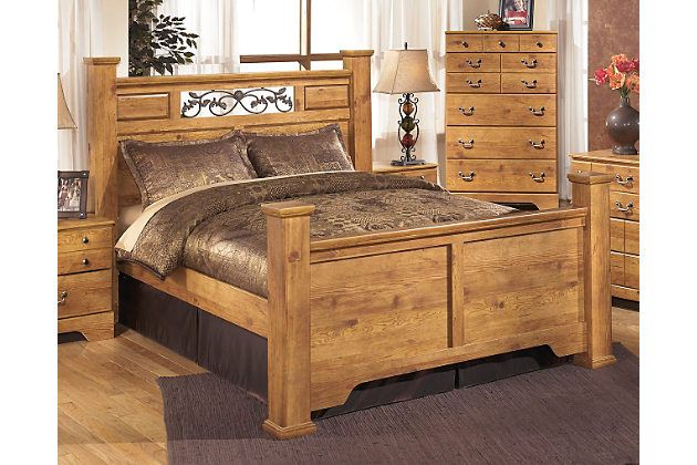 Light Brown Bittersweet Queen Poster Bed By Ashley Homestore Brown Furniture Bedroom Ashley Furniture Light Brown Bedrooms