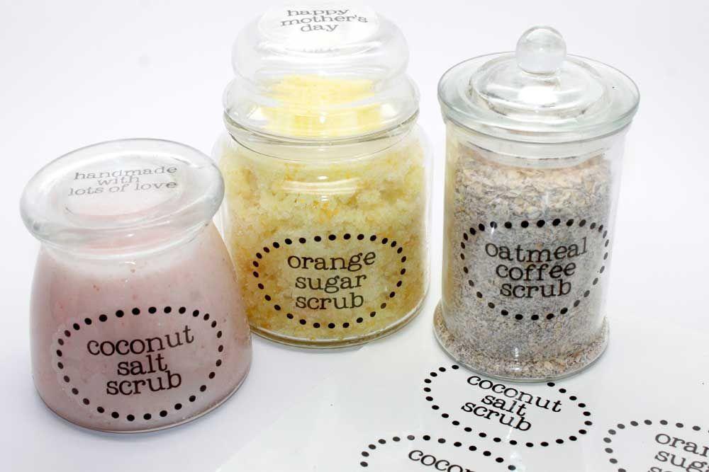 Clear Labels On Body Scrub Jars