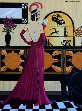 art deco water color paintings | RSVP Art Deco Painting | Art ...
