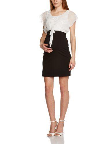 Mamalicious Channe S/L Mix Knee - Vestido premamá para mujer, talla 40, color blanco (snow white 11 62 tcx)