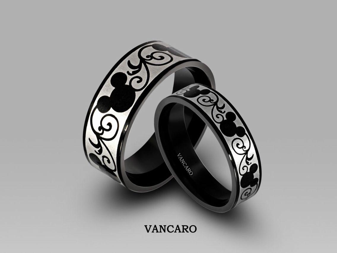 Mickey Themed Titanium Steel Couples Rings Mickey Mouse Jewelry Disney Wedding Rings Disney Jewelry